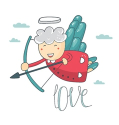 Card with cupid and angel love vector