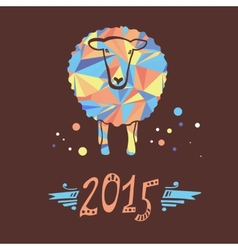 card with sheep and 2015 vector image