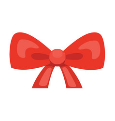 Cartoon cute gift bow with ribbons red color vector