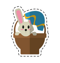 Cartoon easter bunny in basket present vector
