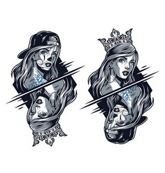 Chicano girls wearing crown and baseball cap vector