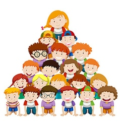 Children doing human pyramid vector image