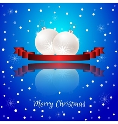 Christmas card with a red banner and white vector