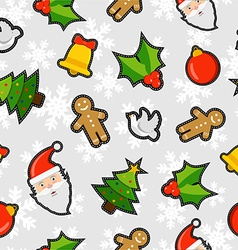 Christmas elements patch icon pattern background vector image