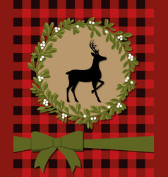 classic christmas card with reindeer vector image