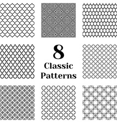 Classic seamless patterns vector image