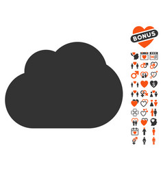 Cloud icon with valentine bonus vector