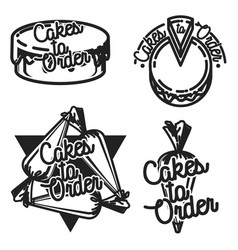 color vintage cakes to order emblems vector image