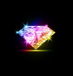 colorful dazzling diamond on black background vector image