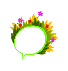 colorful empty thought bubble with flowers and vector image