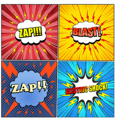 comic electric backgrounds set vector image
