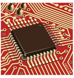 computer chip on red board close up vector image