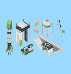 cosmodrome equipment isometric set cargo rocket vector image