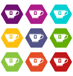cup with teabag icon set color hexahedron vector image