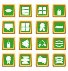 Different colorful labels icons set green vector