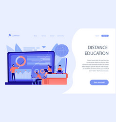 Distance learning concept landing page vector
