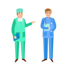 Doctors surgeon and therapist in medical overalls vector