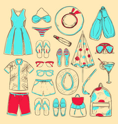 Doodle colored summer beach icons collection vector