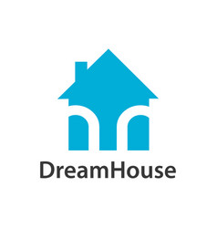 dream house logo concept design light blue color vector image