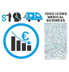 Euro Recession Icon with 1000 Medical Business vector