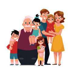 Family portrait - parents children grandfather vector