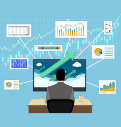 Financial trader on workplace graphs and charts vector