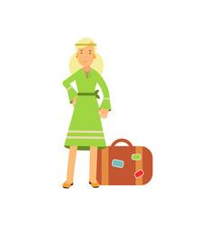 flat cartoon blonde woman hippie character vector image