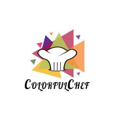 Food logo colorful chef hat icon concept vector