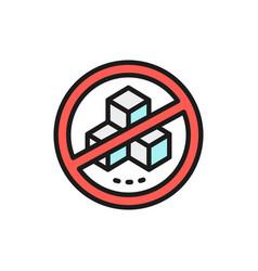 Forbidden sign with a sugar no sweets flat color vector