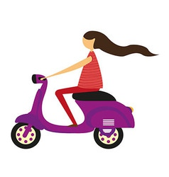girl over motorbike vector image