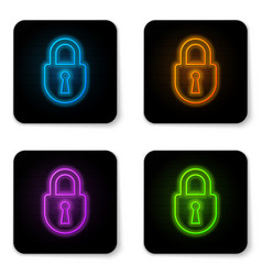 glowing neon lock icon isolated on white vector image