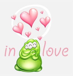 green monster in love with pink hearts vector image