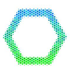 Halftone blue-green contour hexagon icon vector