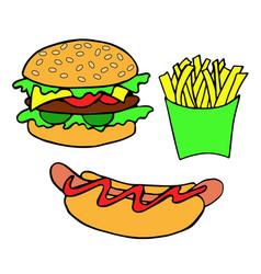 hand drawn burger hot dog fries vector image