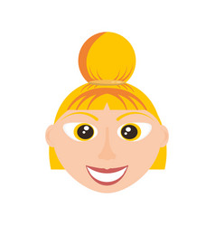 happy woman face cartoon vector image