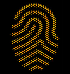 hexagon halftone fingerprint icon vector image