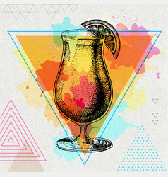 Hipster cocktail tequila sunrise vector