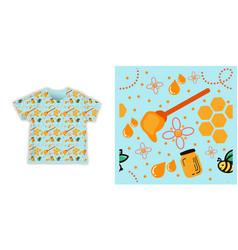 Honey bee seamless pattern fabric shirt textile vector