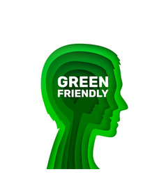 human ecology green friendly sign on a white vector image