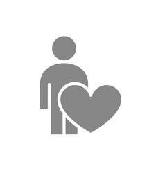 human with big heart self care gray icon like vector image