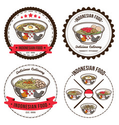 Indonesian food set of badges design templates vector