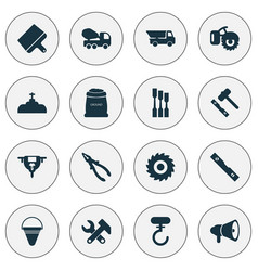 Industrial icons set with chisel truck auger and vector