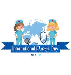 International nurse day logo with cute nurses and vector
