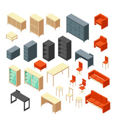Isometric 3d office furniture isolated interior vector