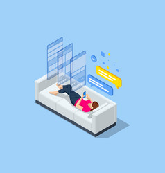 Isometric relaxed woman on couch at home she vector