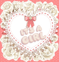Its a girl baby shower on heart and roses vector