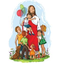 Jesus with children christian vector