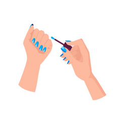 Light blue manicure with triangles on female hands vector