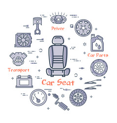 Linear round banner of car seat in center vector