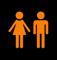male and female sign orange icon on black vector image